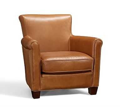 Irving Leather Armchair, Polyester Wrapped Cushions, Leather Burnished Saddle - Pottery Barn