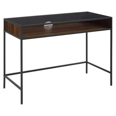 42 in. Metal and Wood Desk with Glass and Shelf Dark Walnut - Home Depot