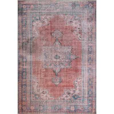 nuLOOM Lisette Persian Distressed Rust 7 x 9 Area Rug, Pink - Home Depot
