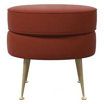 Pietro Midcentury Ottoman - Small Round, Poly, Distressed Velvet, Rust, Brass - West Elm
