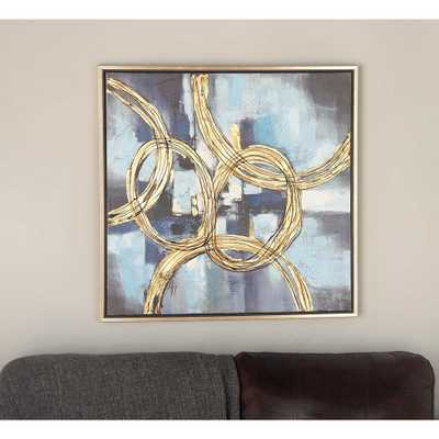 32 in. x 32 in. Abstract Linked Circles in Yellow and Black Framed Hand Painted Canvas Wall Art - Home Depot
