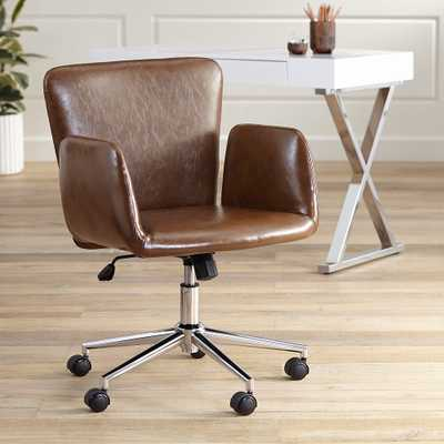 Megan Brown Faux Leather Swivel Office Chair - Style # 63K82 - Lamps Plus