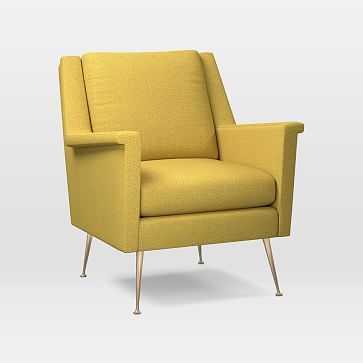 Carlo Mid-Century Chair, Poly, Basket Slub, Dark Horseradish, Brass - West Elm