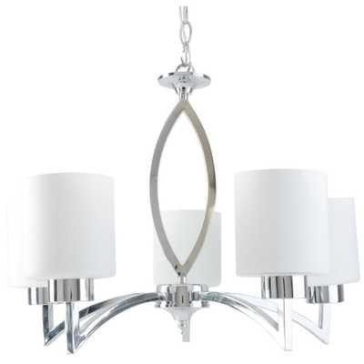 BELDI Markam 5-Light Chrome Chandelier with Opal White Glass Shade - Home Depot