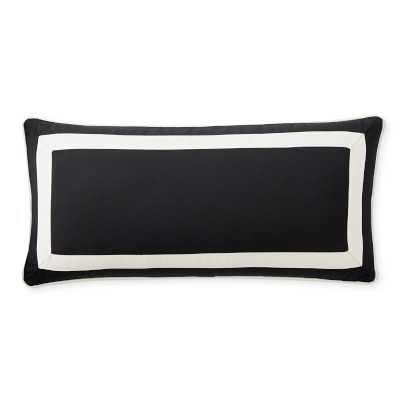 "Solid Outdoor Pillow Cover With White Border, 15"" X 30"", Black - Williams Sonoma"