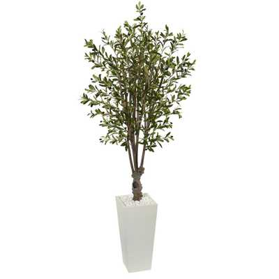 6 ft. Olive Artificial Tree in White Tower Planter - Home Depot