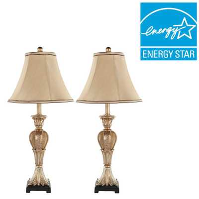 Safavieh Patrizia 25 in. Gold Table Lamp with Beige Shade (Set of 2) - Home Depot