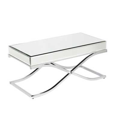 Alice Mirrored Chrome Coffee Table, Mirrored With Chrome Finish - Home Depot