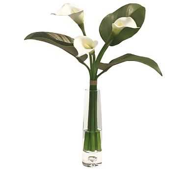 Faux Calla Lily Bouquet in Glass Vase - White - Pottery Barn