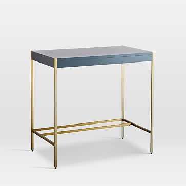Zane Mini Desk, Gray/Antique Brass - West Elm
