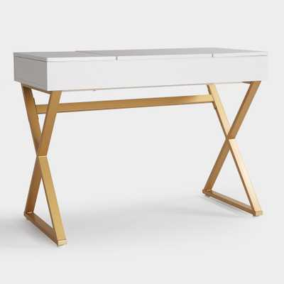 White Wood and Metal Mara Vanity Desk by World Market - World Market/Cost Plus