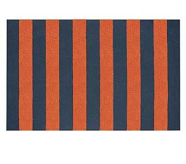 Rugby Custom Rug, 5' x 8', Navy/Orange - Pottery Barn Kids