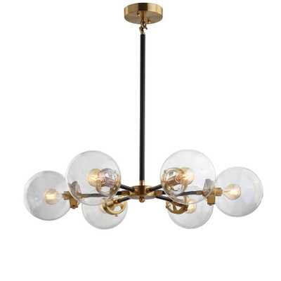JONATHAN Y Caleb 28 in. 6-Light Black/Brass Cluster Pendant - Home Depot