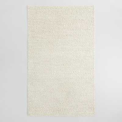 Ivory Cable Knit Chunky Sweater Wool Carmel Area Rug - 8Ftx10Ft by World Market 8Ftx10Ft - World Market/Cost Plus
