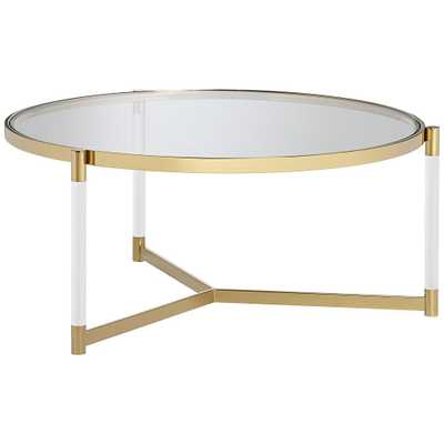 Stefania Gold and Acrylic Coffee Table - Style # 55K04 - Lamps Plus