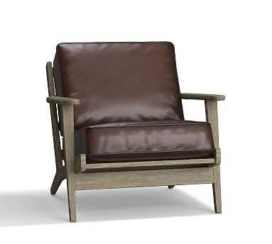 Raylan Leather Armchair, Down Blend Wrapped Cushions, Burnished Walnut - Pottery Barn