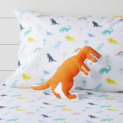Prehistoric Pals Orange Dinosaur Throw Pillow - Crate and Barrel