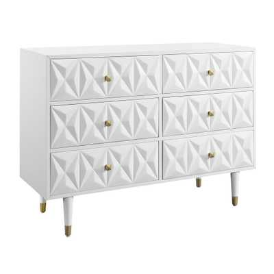 Linon Home Decor Dixon Six Drawer Geo Texture Dresser White - Home Depot
