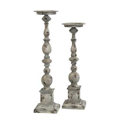 IMAX Hamilton Candleholders (Set of 2), Grey - Home Depot