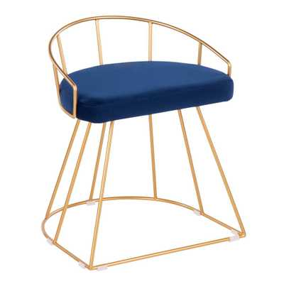 Lumisource Canary 18 in. Gold Vanity Stool with Blue Velvet Cushion - Home Depot