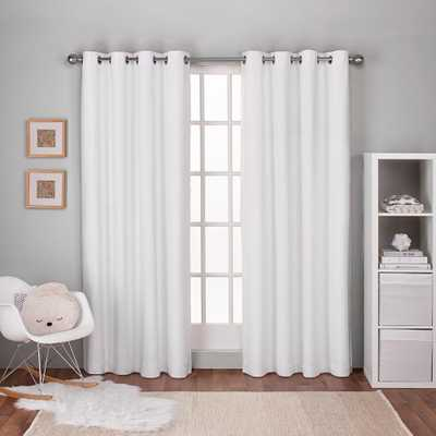 Amalgamated Textiles Textured Linen Winter White Thermal Grommet Top Window Curtain - Home Depot