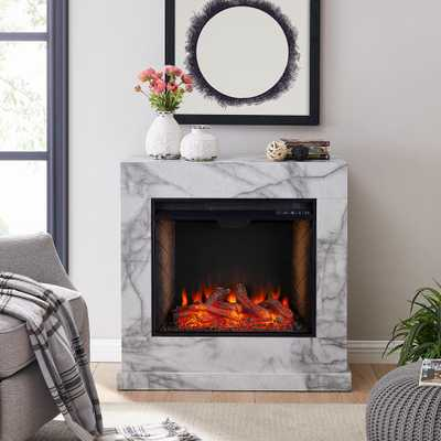 Southern Enterprises Barsdale Alexa-Enabled 34 in. Faux Marble Electric Fireplace in White, White faux marble finish w/ gray veining - Home Depot