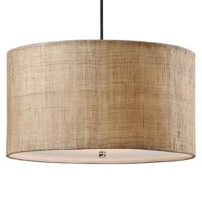 Emelia Rustic Lodge Burlap Drum 3 Light Pendant - Kathy Kuo Home