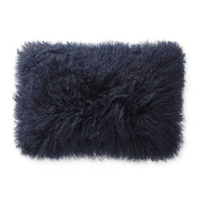 """Mongolian Lambswool Pillow Cover, 14"""" X 22"""", Navy - Williams Sonoma"""