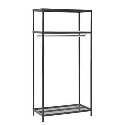 Muscle Rack 36 in. W x 71 in. H x 18 in. D 3-Shelf Black Steel Garment Rack - Home Depot