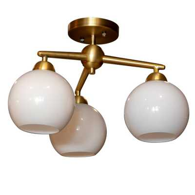 Decor Therapy Michael 3-Light Antique Brass Flushmount Ceiling Light - Home Depot