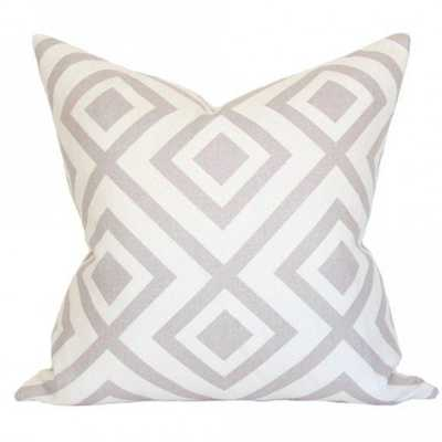 La Fiorentina Light Grey & Ivory - 18x18 pillow cover / pattern on front, solid on back - Arianna Belle