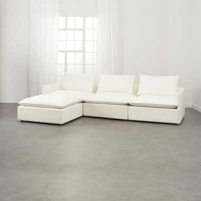 Lumin White Linen 4-Piece Sectional Sofa - CB2
