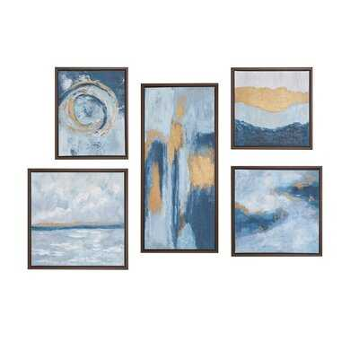 'Teal Rendition' Gallery Art with Gold Foil and Bronze Frame 5 Piece Set - Wayfair