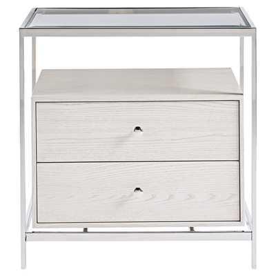 Annika Modern Classic Glass Top White Wood Nightstand - Kathy Kuo Home