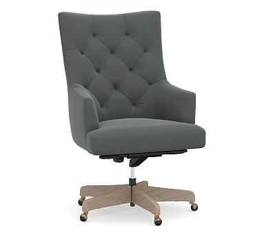Radcliffe Desk Chair Gray Wash Base, Performance Plush Velvet Slate - Pottery Barn