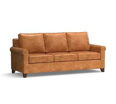 """Cameron Roll Arm Leather Sofa 90.5"""", Polyester Wrapped Cushions, Leather Statesville Caramel - Pottery Barn"""