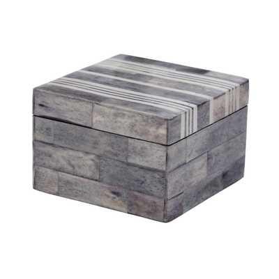 4 in. x 4 in. Gray and White Bone Decorative Box, Gray/White - Home Depot
