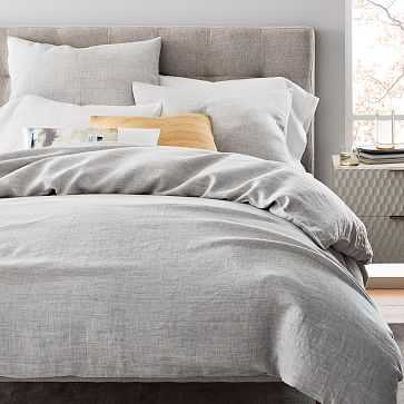 Belgian Flax Linen Fiber Dyed Duvet Cover, Full/Queen, Frost Gray - West Elm