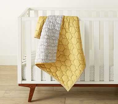 west elm x pbk Honeycomb Toddler Quilt, Horseradish - Pottery Barn Kids
