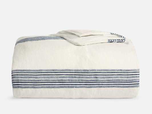 Linen Duvet Cover - Full/Queen / Navy Woven Stripe - Brooklinen