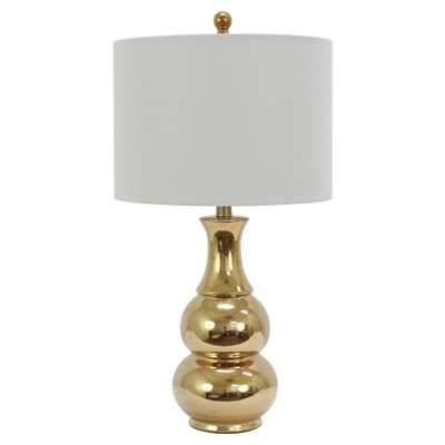 Decor Therapy Crackle Ceramic 26.5 in. Plated Gold Table Lamp with Linen Shade - Home Depot