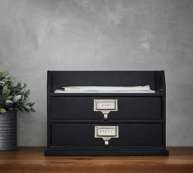 Bedford Two-Drawer Paper Organizer, Black - Pottery Barn