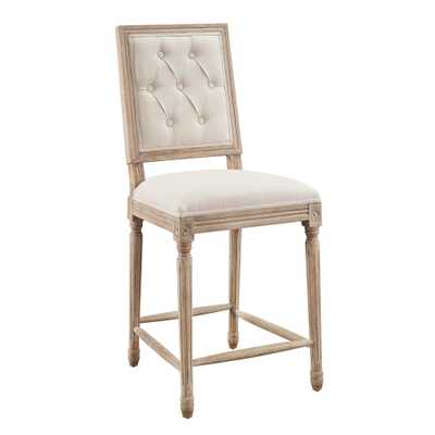 Linon Home Decor Alton 25 in. Rustic Brown Linen Tufted Upholstered Square Back Counter Stool - Home Depot