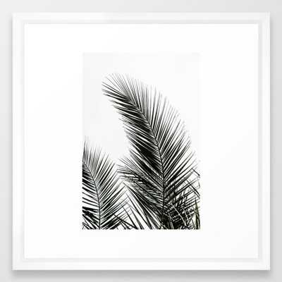 Palm Leaves Framed Art Print by Maboe (22x22 vector white) - Society6