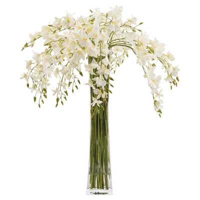 John-Richard White Dendrobium Orchids Tall Slender Floral Arrangement - Kathy Kuo Home