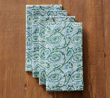 Block Print Napkin, Set of 4 - Green Paisley - Pottery Barn