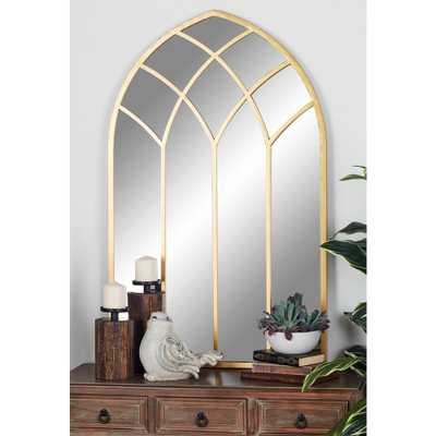 Arched Gold Decorative Mirror with Geometric Overlays - Home Depot