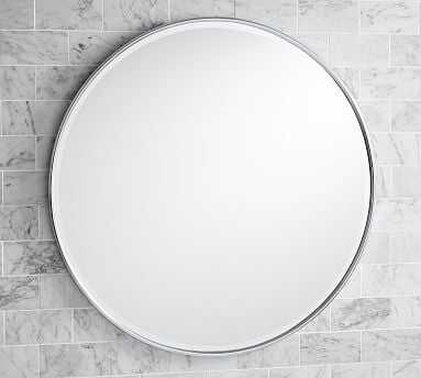 "Vintage Round Mirror, 30"", Chrome - Pottery Barn"