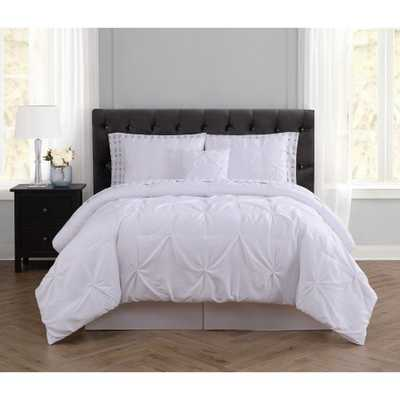 Arrow Pleated White Full Bed in a Bag - Home Depot