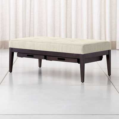 Nash Rectangular Tufted Ottoman with Tray - Crate and Barrel